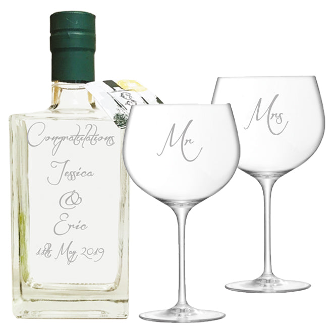Personalised Gin Bottle and Gin Glass Gift Set