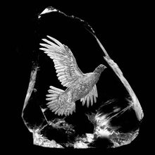 Flying Scottish Grouse Specialist Hand Engraved on Crystal Cullet