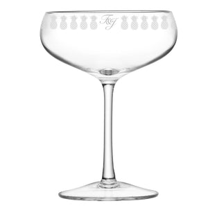 Pineapple Engraved Champagne Glass