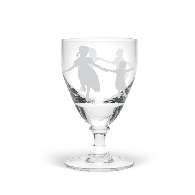 Dancing Children White Wine Glass