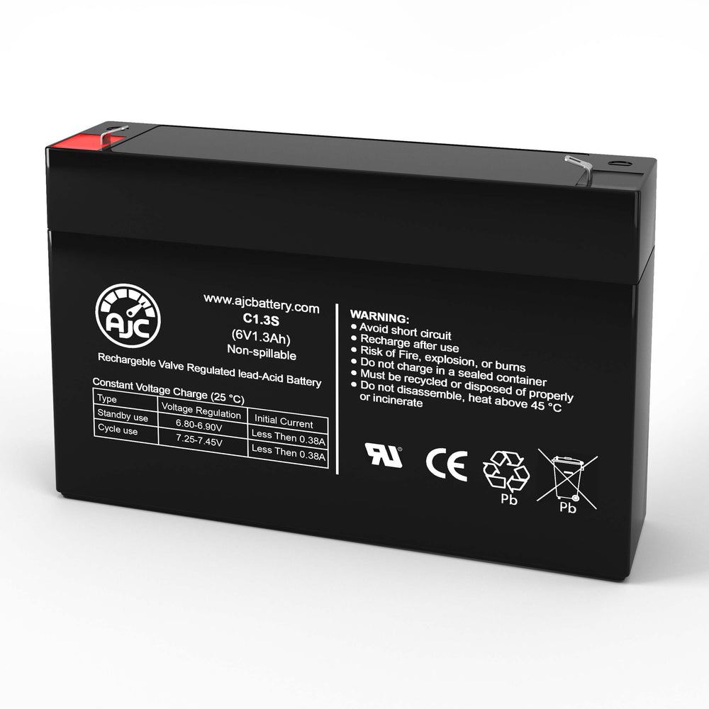 Kung Long WP1.3-6 6V 1.3Ah Sealed Lead Acid Replacement Battery