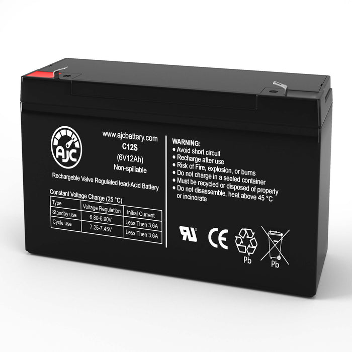 Jasco RB6100 6V 12Ah Sealed Lead Acid Replacement Battery