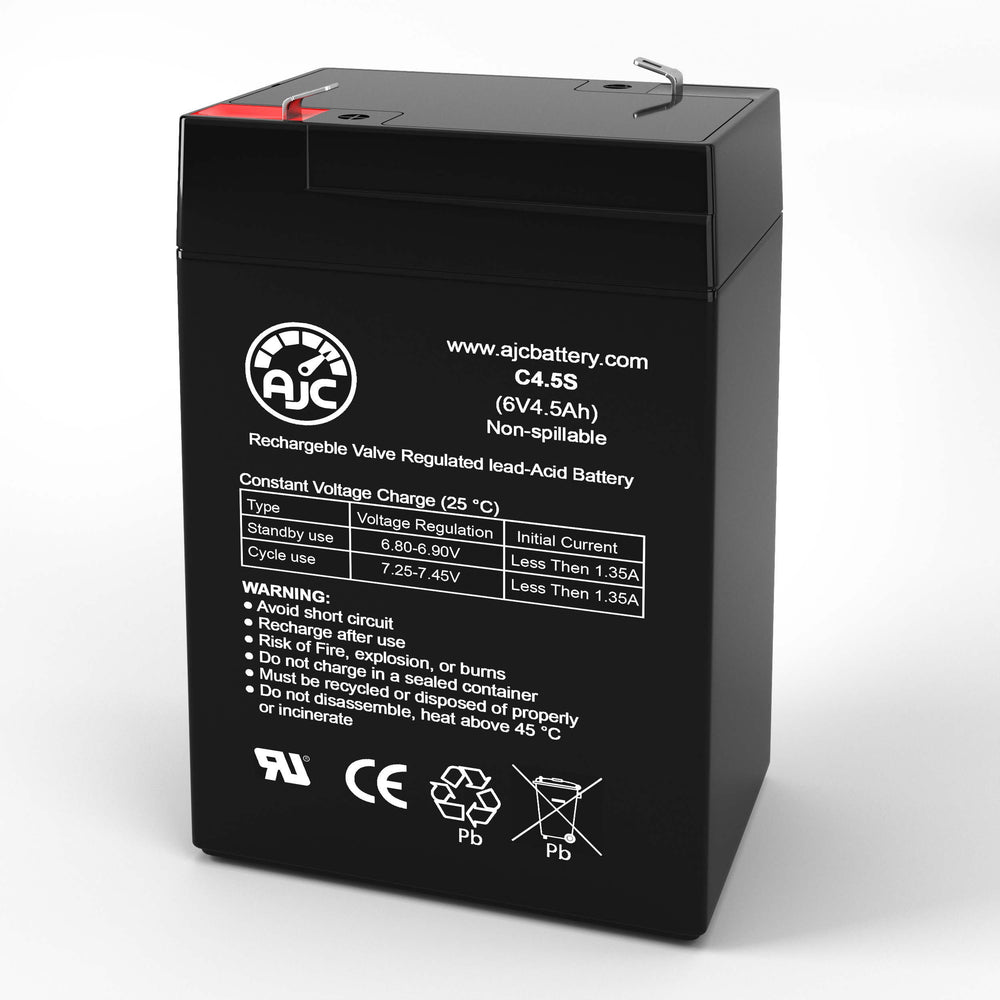 FirstPower FP645 6V 4.5Ah Sealed Lead Acid Replacement Battery