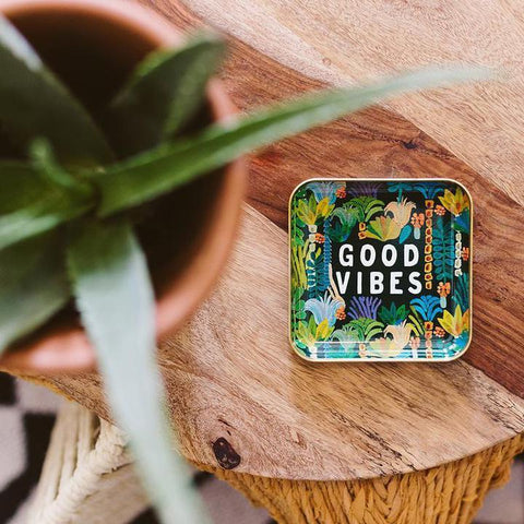 good vibes catchall metal tray