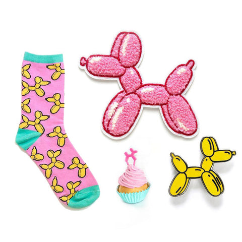 balloon dogs Jeff Koons pin patch cupcake topper socks