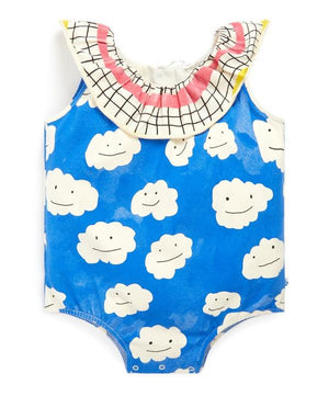 NAZ* Blue Clouds Collar Romper -  - Baby Clothing - Feliz Modern
