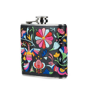 BLH Embroidered Otomi Flask -  - Flask - Feliz Modern