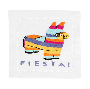 AUM fiesta embroidered napkin -  - Cocktail Napkin - Feliz Modern