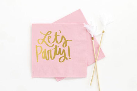 WRE Lets Party Light Pink Napkins