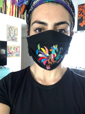 DAI* Otomi Face Mask - supports SAA African American Community Fund - Black Otomi - Face mask - Feliz Modern