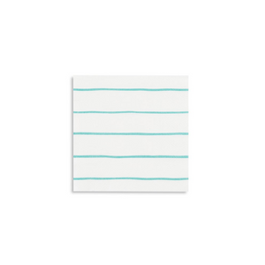 JAC  aqua frenchie striped petite napkins -  - Napkin - Feliz Modern