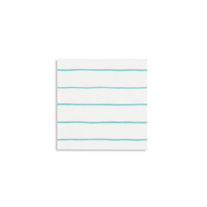 JAC  aqua frenchie striped petite napkins