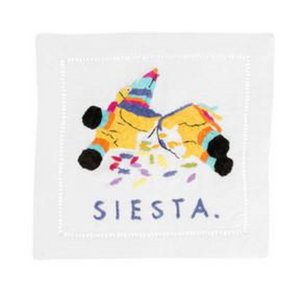 AUM siesta embroidered napkin -  - Cocktail Napkin - Feliz Modern