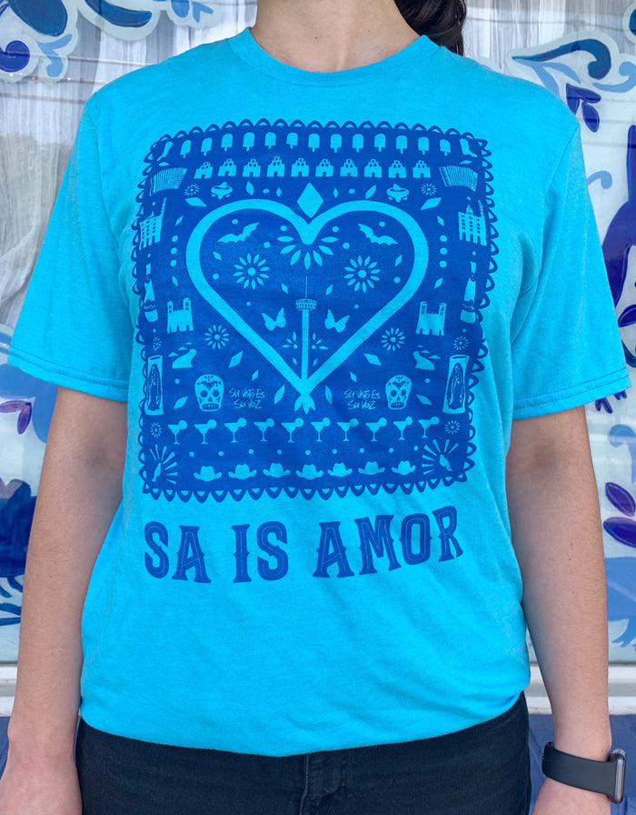 MMF SA is Amor Adult Unisex Shirt -Blue and Blue