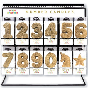 PPDN Gold Glitter Number Candles -  - Birthday Candle - Feliz Modern