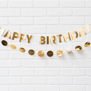 MMEY Gold Happy Birthday Banner -  - Party Supply - Feliz Modern