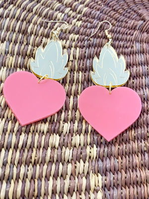 SEB Sacred Heart in Color Earrings - Pink - Earring - Feliz Modern