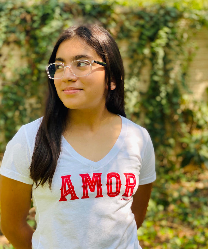 MMF Amor Women's Shirt Red and White SA IS AMOR