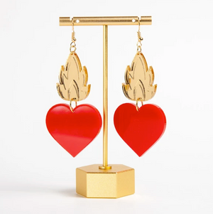 SEB Sacred Heart in Color Earrings - Red - Earring - Feliz Modern