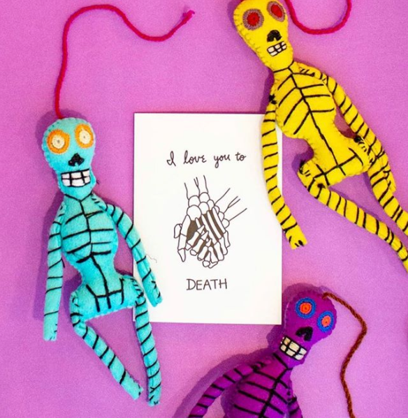 BUI Hand Embroidered Colorful Skeleton Ornament
