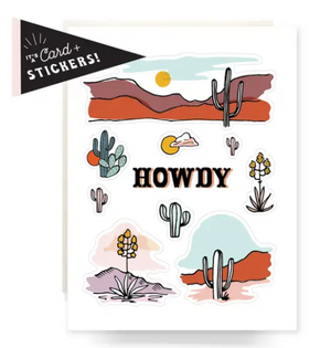 ATQ Sticker Sheet Greeting Card: Howdy Cactus -  - Card - Feliz Modern