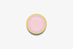 CCH Colorama Soft Pink Enamelware Plate with Chartreuse Rim -  - Plate - Feliz Modern
