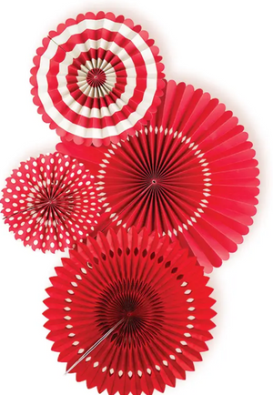 MMEY Party Fan Set (choose your colors!) - Red - Hanging Decoration - Feliz Modern