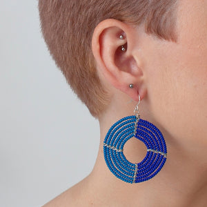 BDW Dusky Blue and Cobalt Ngare Earrings -  - Earring - Feliz Modern