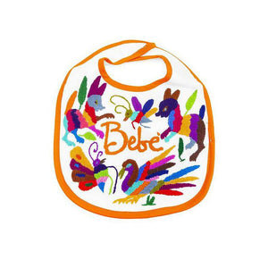 NTSS Otomi Embroidered Baby Bib - Orange - Bib - Feliz Modern