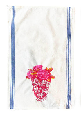 VVF Sugar Skull Flowers Tea Towel