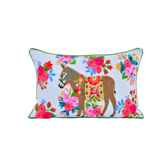 KLC El Burro Feliz Embroidery Pillow (pickup or in-store only)