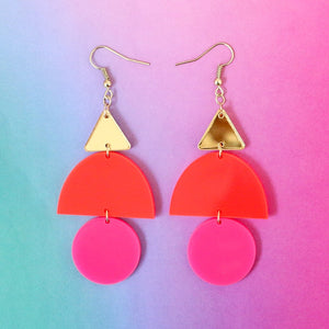 KAC Red Pink Color Blocked Geometric Earrings -  - Earring - Feliz Modern