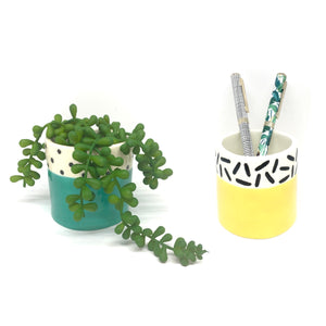 QTC* Yellow Dash Patterned Mini Planter -  - Planter - Feliz Modern