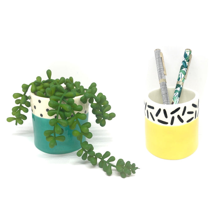 QTC* Yellow Dash Patterned Mini Planter