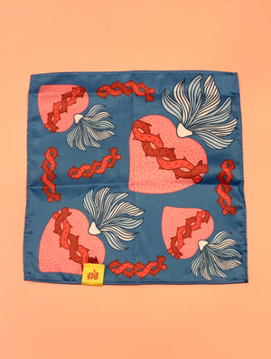 MPI Blue and Pink Sacred Heart Pocket Square -  - Pocket Square - Feliz Modern