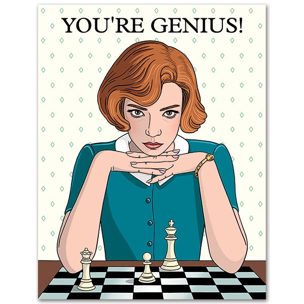 TFND You're Genius Queen's Gambit Birthday Chess Card