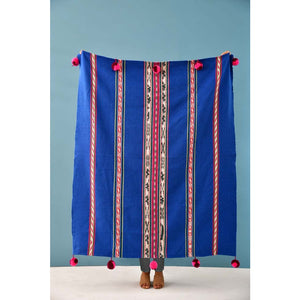 KLC Blue Striped Handloomed Throw -  - Home Decor - Feliz Modern