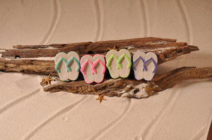 FLIP FLOPS, SANDALS, SAND FLIP FLOPS, SAND MAGNET, TROPICAL DECORATIONS, COASTAL MAGNET, BEACH COTTAGE ORNAMENTATION, MADE IN FLORIDA, BEACH LOVER GIFTS, BEACH SAND KEEPSAKES, VACATION SOUVENIR, GIFT SHOP OWNERS, PROMOTIONAL ITEMS, PARTY FAVOR, SPECIAL EVENT, COLLECTIBLES, HAND-CRAFTED, FUNDRAISER, THREE-DIMENSIONAL, MAGNET