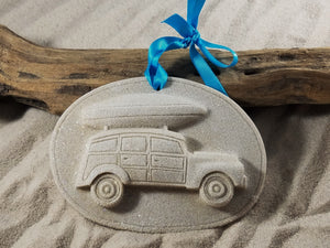 Surfboard Loaded on Station Wagon Sand Ornament