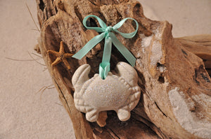 CRAB ORNAMENT, SAND ORNAMENT, TROPICAL SEASIDE ORNAMENT, COASTAL BEACH GIFT, MADE IN FLORIDA, BEACH LOVER GIFTS, BEACH SAND KEEPSAKES, VACATION SOUVENIR, GIFT SHOP OWNERS, PROMOTIONAL ITEMS, PARTY FAVOR, SPECIAL EVENT, COLLECTIBLES, HAND-CRAFTED, FUNDRAISER, BRIDAL SHOWER FAVORS, DESTINATION WEDDING, BEACH WEDDING FAVORS