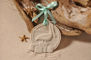 PELICAN ORNAMENT, PELICAN DOCK SAND ORNAMENT, TROPICAL SEASIDE ORNAMENT, COASTAL BEACH GIFT, MADE IN FLORIDA, BEACH LOVER GIFTS, BEACH SAND KEEPSAKES, VACATION SOUVENIR, GIFT SHOP OWNERS, PROMOTIONAL ITEMS, PARTY FAVOR, SPECIAL EVENT, COLLECTIBLES, HAND-CRAFTED, FUNDRAISER, BRIDAL SHOWER FAVORS, DESTINATION WEDDING, BEACH WEDDING FAVORS