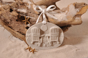 BEACH CHAIRS ORNAMENT, MR & MRS BEACH CHAIRS SAND ORNAMENT, ADIRONDACK CHAIRS, TROPICAL SEASIDE ORNAMENT, COASTAL BEACH GIFT, MADE IN FLORIDA, BEACH LOVER GIFTS, BEACH SAND KEEPSAKES, VACATION SOUVENIR, GIFT SHOP OWNERS, PROMOTIONAL ITEMS, PARTY FAVOR, SPECIAL EVENT, COLLECTIBLES, HAND-CRAFTED, FUNDRAISER, BRIDAL SHOWER FAVORS, DESTINATION WEDDING, BEACH WEDDING FAVORS