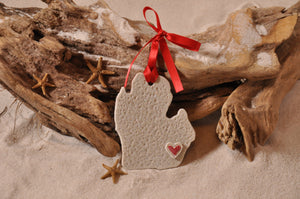 MICHIGAN SHAPE, MICHIGAN ORNAMENT, SAND ORNAMENT, TROPICAL SEASIDE ORNAMENT, COASTAL BEACH GIFT, MADE IN FLORIDA, BEACH LOVER GIFTS, BEACH SAND KEEPSAKES, VACATION SOUVENIR, GIFT SHOP OWNERS, PROMOTIONAL ITEMS, PARTY FAVOR, SPECIAL EVENT, COLLECTIBLES, HAND-CRAFTED, FUNDRAISER, BRIDAL SHOWER FAVORS, DESTINATION WEDDING, BEACH WEDDING FAVORS