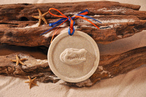 FLORIDA GATORS, GATORS, UNIVERSITY OF FLORIDA, COLLEGE TEAM, COLLEGE, UNIVERSITY, HIGH SCHOOL, DIPLOMA, GRADUATION PARTY, ORNAMENT, SAND ORNAMENT, TROPICAL ORNAMENT, COLLEGE BEACH GIFT, MADE IN FLORIDA, BEACH LOVER GIFTS, SAND KEEPSAKES, SPORTS SOUVENIR, GIFT SHOP OWNERS, PROMOTIONAL ITEMS, PARTY FAVOR, SPECIAL EVENT, COLLECTIBLES, HAND-CRAFTED, FUNDRAISER