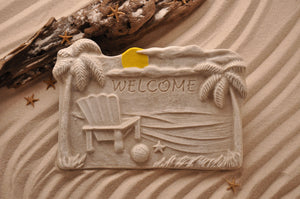 BEACH DECOR PLAQUE, BEACH CHAIR, COASTAL WALL DÉCOR, SAND ART, COTTAGE CHIC, WELCOME SIGN, BEACH HOUSE DÉCOR, THREE-DIMENSIONAL, COASTAL BEACH GIFT, MADE IN FLORIDA, BEACH LOVER GIFTS, BEACH SAND KEEPSAKES, VACATION SOUVENIR, GIFT SHOP OWNERS, PROMOTIONAL ITEMS, PARTY FAVOR, SPECIAL EVENT, COLLECTIBLES, HAND-CRAFTED, FUNDRAISER