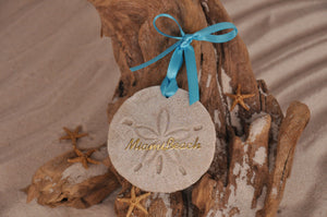 MIAMI BEACH SAND DOLLAR, MIAMI BEACH SAND ORNAMENT, TROPICAL SEASIDE ORNAMENT, COASTAL BEACH GIFT, MADE IN FLORIDA, BEACH LOVER GIFTS, BEACH SAND KEEPSAKES, VACATION SOUVENIR, GIFT SHOP OWNERS, PROMOTIONAL ITEMS, PARTY FAVOR, SPECIAL EVENT, COLLECTIBLES, HAND-CRAFTED, FUNDRAISER, DESTINATION WEDDING, BEACH WEDDING FAVORS