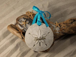MALIBU SAND DOLLAR, MALIBU SAND ORNAMENT, TROPICAL SEASIDE ORNAMENT, COASTAL BEACH GIFT, MADE IN FLORIDA, BEACH LOVER GIFTS, BEACH SAND KEEPSAKES, VACATION SOUVENIR, GIFT SHOP OWNERS, PROMOTIONAL ITEMS, PARTY FAVOR, SPECIAL EVENT, COLLECTIBLES, HAND-CRAFTED, FUNDRAISER, DESTINATION WEDDING, BEACH WEDDING FAVORS