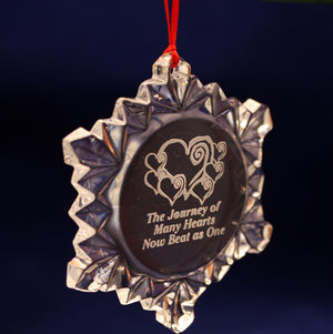 Crystal Snowflake Adoption Ornament - Many Hearts One Beat