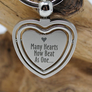 Spinning Heart Adoption Key Chain - Many Hearts One Beat
