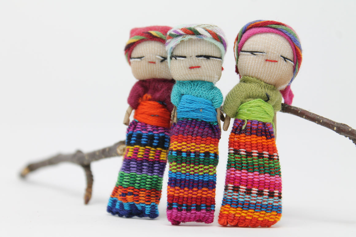 Guatemalan Worry Dolls - Set of 3 Dolls - Many Hearts One Beat